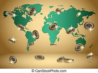 or, vecteur, fond, à, planisphère, et, bitcoins