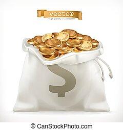 or, vecteur, pièces., sac argent, argent, icône, 3d