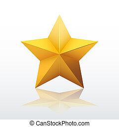 or, vecteur, star., cinq-pointu, illustration