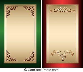 or, vendange, -, arrière-plans, vecteur, vert, décorations, rouges