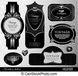 or, vendange, cadre, étiquette, vecteur, noir