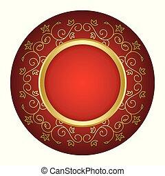 or, vendange, cadre, -, vecteur, fond, rouges