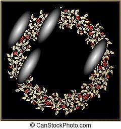 or, vendange, feuilles, baies, vecteur, arrière-plan noir, cercle, cadre, rouges
