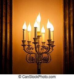 or, vendange, lampe, plaqué, incandescent, bougeoir