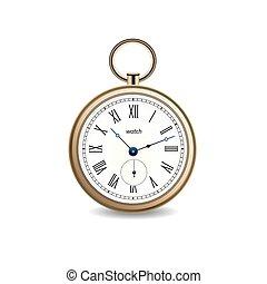 or, vendange, montre, arrière-plan., vecteur, blanc