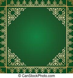 or, vendange, -, ornement, vecteur, arrière-plan vert