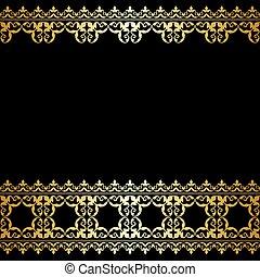 or, vendange, -, vecteur, arrière-plan noir, frontière