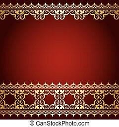 or, vendange, -, vecteur, fond, frontière, rouges