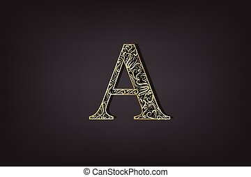 or, vendange, vecteur, lettre, floral, icône