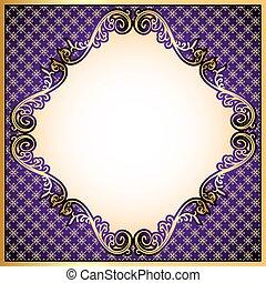 or, violet, fond, ornement, cadre