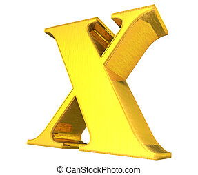 or, x, solide, collection, lettre, 3d