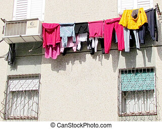 Or Yehuda clothes drying on a rope 2012