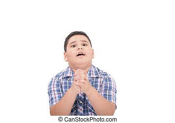 oração, divino, aura, junto, mãos