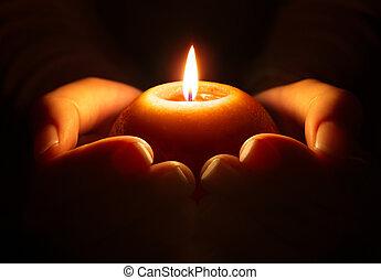 oração, mãos, vela, -
