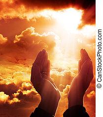 oração, para, céu, -, fé, conceito
