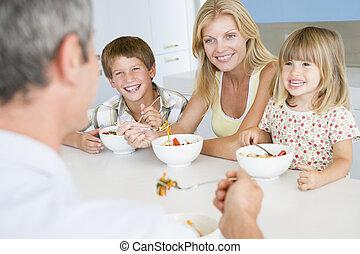 ora pasto, insieme, famiglia mangiando, pasto