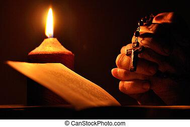 oración, manos, con, crucifijo