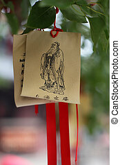 oraciones, confucius, shanghai, papel, deseos, china, templo
