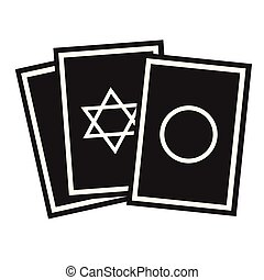 Oracle cards flat illustration on white. Witch and black magic series.