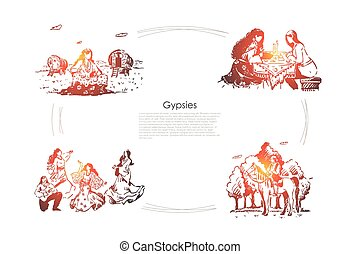 Oracle, fortune telling, future divination, young women in dresses dancing, man playing guitar banner. Romani lifestyle, gypsies caravan concept sketch. Hand drawn vector illustration