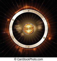 orador, con, pelota club, en, oro, plano de fondo