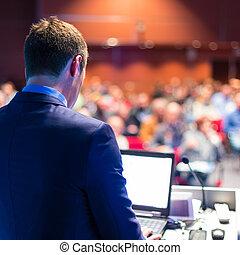 orador, em, conferência negócio, e, presentation.
