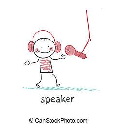 orador, em, fones, fala, em, um, microfone