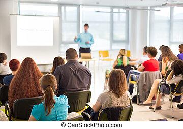 orador, en, convención del negocio, y, presentation.