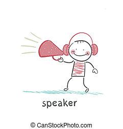 orador, fones, diz