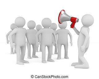 orador, habla, en, megaphone., aislado, 3d, imagen