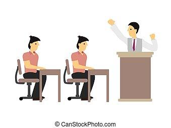 orador, hablar, personas., o, concepto, acontecimiento, ...