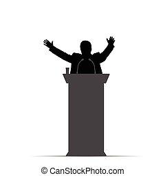 orador, hombre, silueta, ilustración, hablar