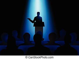 orador, ligado, pódio