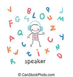 orador, moscas, letras, entre