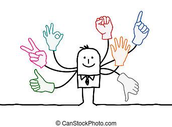 orador, multi, señales, caricatura, manos