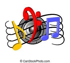orador, notas, música