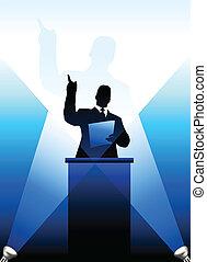orador, pódio, silueta, atrás de, business/political