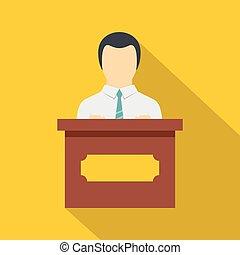 orador público, ícone, apartamento, estilo