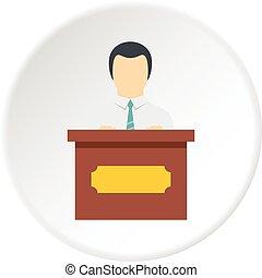 orador público, ícone, círculo