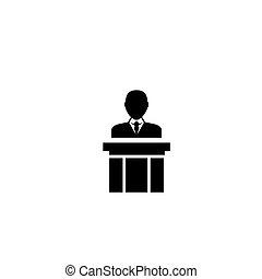 orador público, apartamento, vetorial, ícone