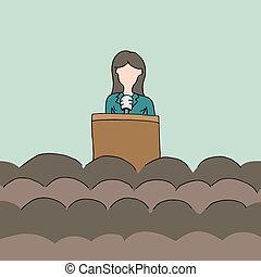 orador, público, hembra