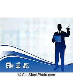 orador público, silueta, ligado, médico, relatório, fundo
