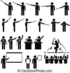 orador, presentación, enseñanza