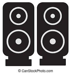orador, silueta, ícone