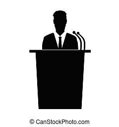 orador, vetorial, silueta, conversa