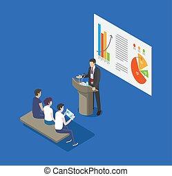 orador, vetorial, tribuna, seminário, ilustração