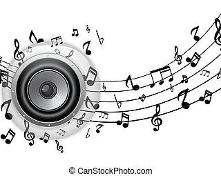 orador, vidro, botão, com, notas música