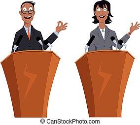 oradores, público, caráteres