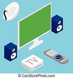 oradores, teatro, tv, sistema, ilustração, vetorial, lar