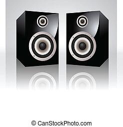 oradores, vetorial, áudio